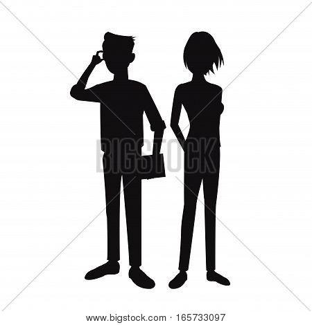 silhouette teens boy girl pose standing student vector illustration