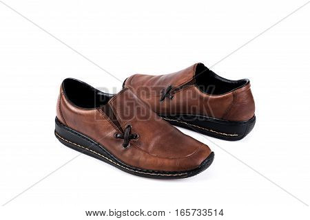 Brown Women's Casual Shoes On A White Background