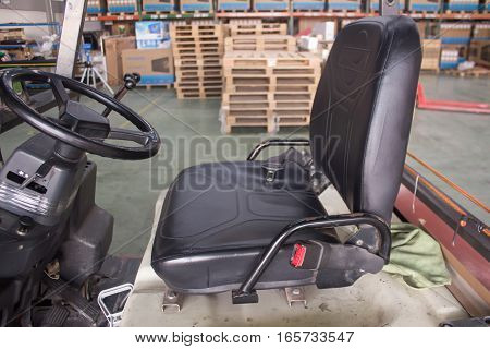 Leather forklift seat close up  truck, industry,