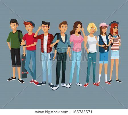 teens group fashion student modern style vector illustration