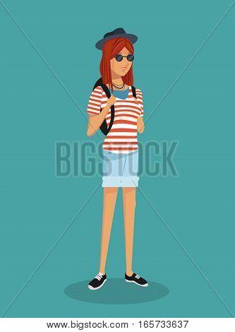 girl hipster teen stripes tshirt sunglasses vector illustration eps 10