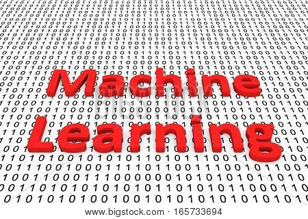 machine learning in the form of binary code, 3D illustration