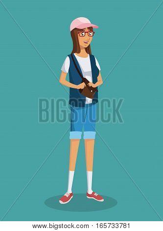 girl glasses teen purse shorts blue vest vector illustration eps 10