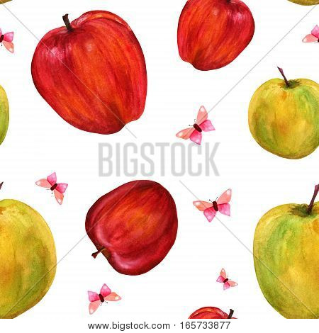 A seamless background pattern with bright watercolour red and yellow apples and pink butterflies on white