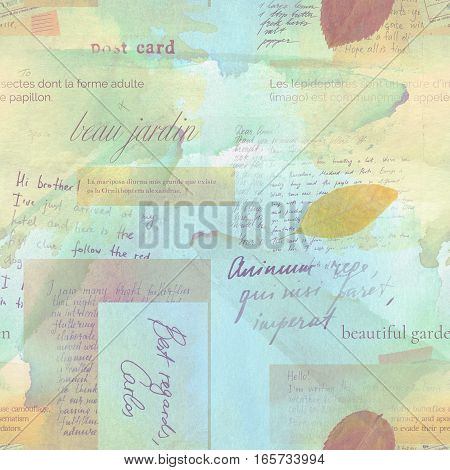 Vintage style seamless pattern with fragments of letters and old paper textures with dry leaves. Visible text includes 'beautiful garden' in French. Toned background