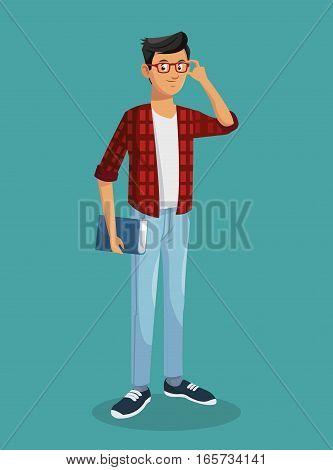 boy teen glasses book black hair vector illustration eps 10