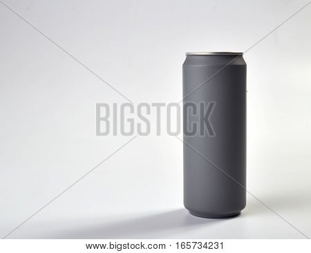Grey paint aluminum can isolated white background