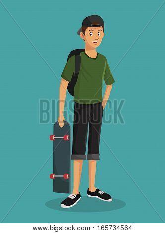 teen boy green tshirt skater cap vector illustration eps 10