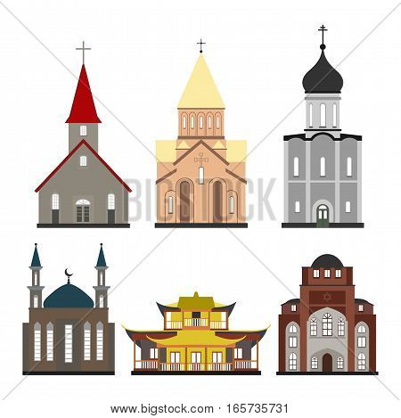 churches of different religions in vector format eps10