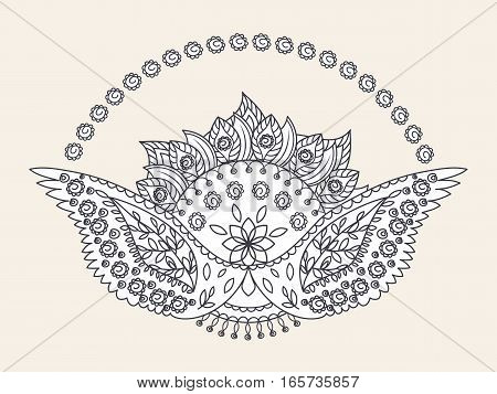Hand drawn sun and wings ornament of floral elements for henna tattoo, stickers, mehndi flash temporary tattoo.Traditional indian style, doodles collection, monochrome.Vector illustration.