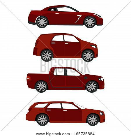 set of red cars in vector format eps10