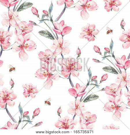 Vintage garden vector spring seamless background with pink flowers blooming branches of cherry, peach, pear, sakura, apple trees and bee