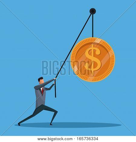 business man conecpt lift coin money vector illustration eps 10