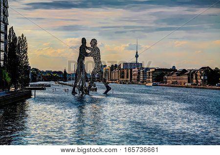 View to Molecular men sculpture Berlin Germany