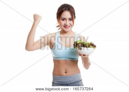 Beautiful Asian Healthy Girl Fist Up With Salad.