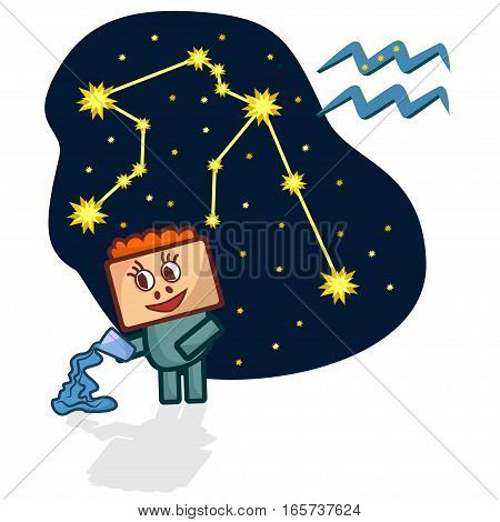 Cartoon Zodiac signs. Vector illustration of the Aquarius with a rectangular face. A schematic arrangement of stars in the constellation Aquarius