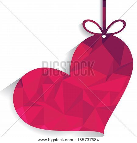 Big colorful Pink heart with ribbon on white background.