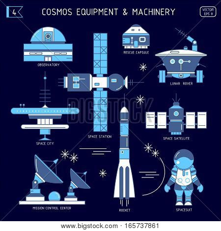 Vector set of space equipment machinery. Observatory rescue capsule lunar rover space city station satellite mission control center rocket spacesuit in the dark. For poster website postcard.