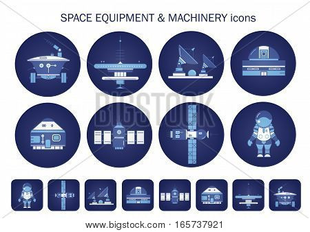 Vector set of round blue icons about space equipment cosmos machinery. Observatory rescue capsule lunar rover space city station satellite mission control center rocket spacesuit in the dark.