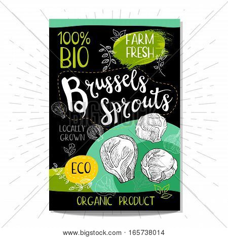 Colorful label in sketch style, food, spices, black background. Brussels sprouts. Vegetables Bio, eco, farm, fresh. locally grown. Hand drawn vector illustration.