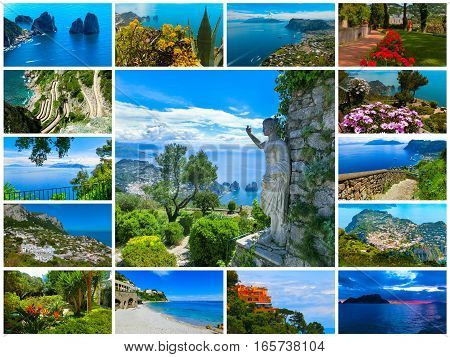 Collage from views of Capri beautiful and famous island in the Mediterranean Sea Coast Naples. Italy.