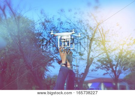 Hand was released drone to take aerial photographs.
