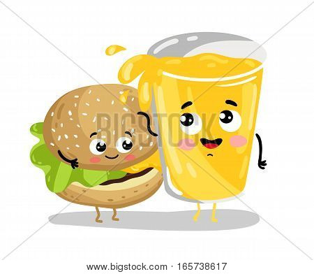 Cute burger and lemonade glass cartoon characters isolated on white background vector illustration. Funny fast food restaurant menu emoticon face icon. Happy smile cartoon face, comical burger, drink