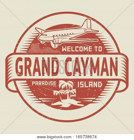 Stamp or label with the text Welcome to Grand Cayman Paradise island vector illustration.