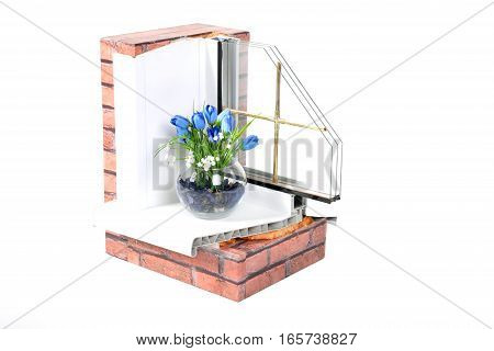 Part of the plastic window with a window sill and sidewall