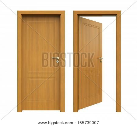 Closed and Open Doors isolated on white background. 3D render
