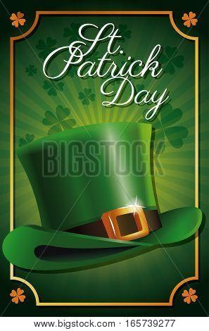 st patrick day leprechaun hat celebration traditional poster clover background vector illustration eps 10