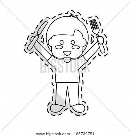 cartoon kid holding a silverware over white background. vector illustration