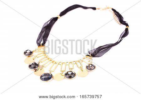 Stylish necklace with stones isolated on white background.