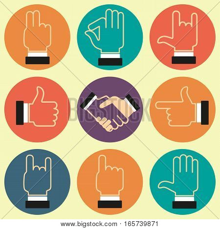 Set of icons with various hand gestures. Vector image.