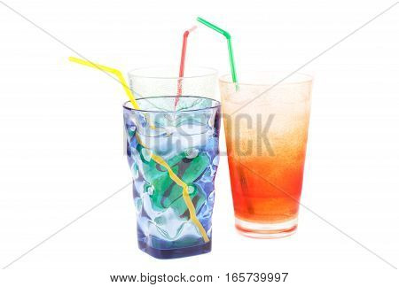 Plastic glasses with water ice cubes and straw isolated on white background.