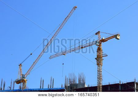 Machinery Crane Working In Construction Site Building Industry