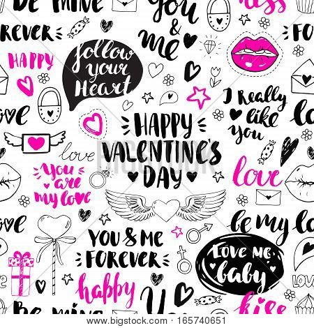 Valentines day seamless doodles pattern. Vector elements: lips, cupcake, heart with wings, envelope, padlock and gift box. Hand drawn icons. Modern brush calligraphy. Handwriten inscriptions.