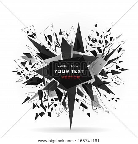 Abstract modern vector explosion banner. Black triangles lines points connected by the middle with inscription.