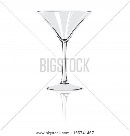 Glass of vermouth. Isolated on background. Reflection.