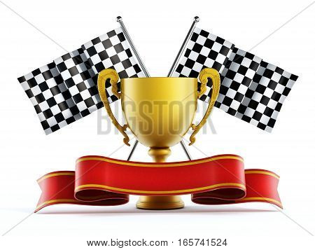 Gold cup checkered flags and red ribbon. 3D illustration.