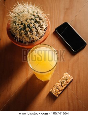 Glass Of Juice And Cookies.