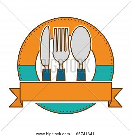 emblem with silverware over white background. colorful design. vector illustration