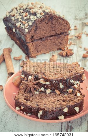 Vintage Photo, Gingerbread Or Dark Cake With Chocolate, Cocoa And Plum Jam, Delicious Dessert