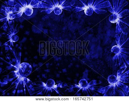 Floral Style Smoke Blue Line Ornament Background, Flower Abstract