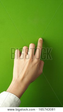 Woman Finger And Hand And Touching.