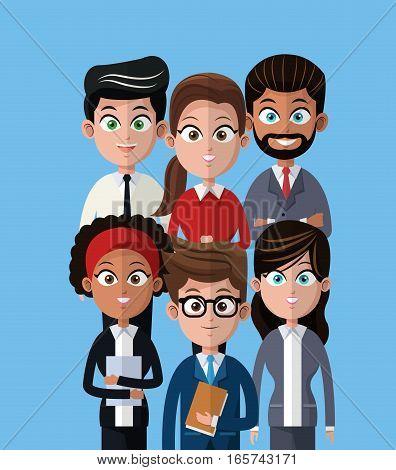 cartoon people team work professional vector illustration eps 10