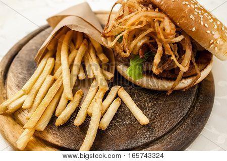 Fast Junk American Traditional Food Fat Snack Dining Burger Restaurant Menu Concept