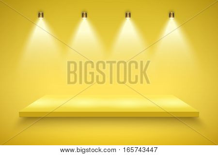 Light box with yellow platform on yellow backdrop with four spotlights. Editable Background Vector illustration.