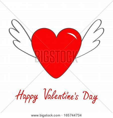Happy Valentines Day. Red heart with wings. Cute cartoon contour sign symbol. Winged shining angel hearts. Flat design style. Love greeting card. Isolated. White background. Vector illustration