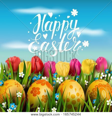 Template vector card with realistic golden eggs, grass and tulips. Handwriting inscription Happy Easter. Bright pink  background. Floral painted. Lettering, calligraphy. 3D. Blue sky.